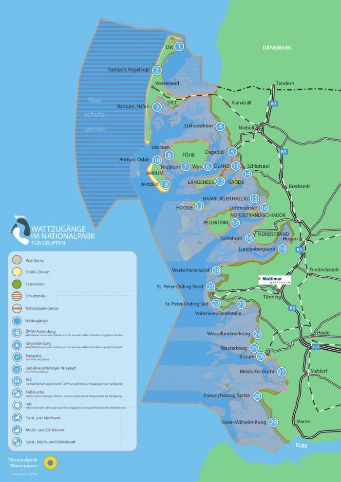 Karte Wattzugänge