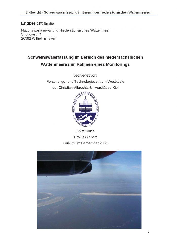 Bericht Schweinswalerfassung Niedersachsen 2008 Titelblatt