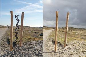 Begrüßungsstele auf Norderney vor und nach der Zerstörung